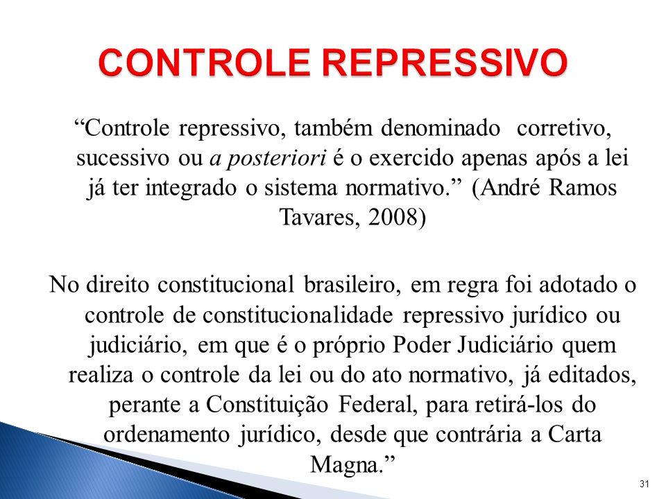 Controle repressivo, também denominado corretivo, sucessivo ou a posteriori é o exercido apenas após a lei já ter integrado o sistema normativo. (Andr