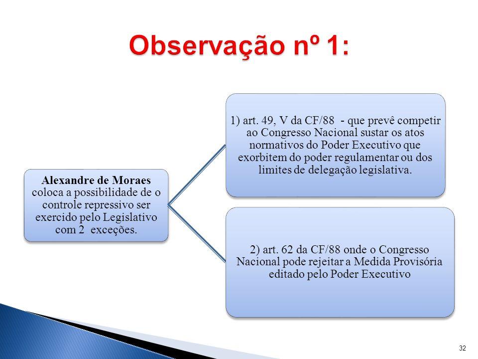 Alexandre de Moraes coloca a possibilidade de o controle repressivo ser exercido pelo Legislativo com 2 exceções. 1) art. 49, V da CF/88 - que prevê c