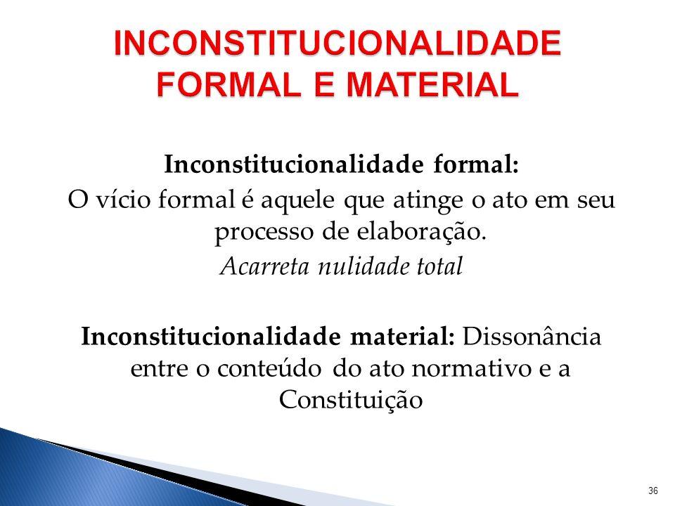 Inconstitucionalidade formal: O vício formal é aquele que atinge o ato em seu processo de elaboração. Acarreta nulidade total Inconstitucionalidade ma