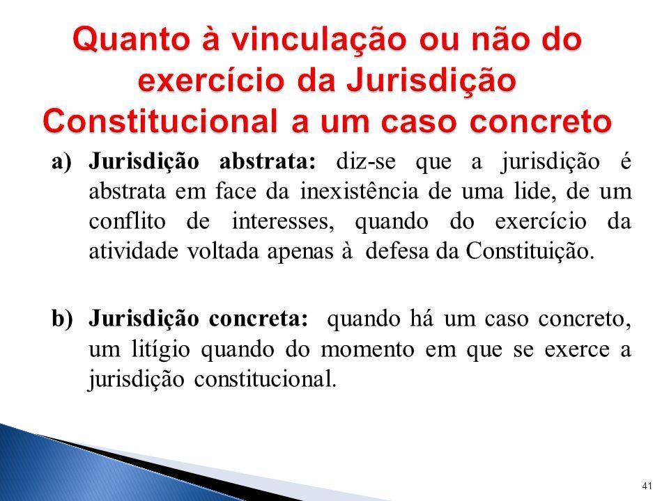 a) Jurisdição abstrata: diz-se que a jurisdição é abstrata em face da inexistência de uma lide, de um conflito de interesses, quando do exercício da a