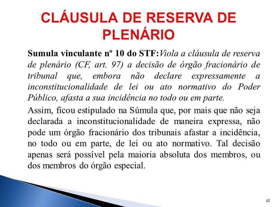 Sumula vinculante nº 10 do STF:Viola a cláusula de reserva de plenário (CF, art. 97) a decisão de órgão fracionário de tribunal que, embora não declar