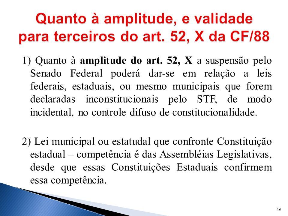 1) Quanto à amplitude do art. 52, X a suspensão pelo Senado Federal poderá dar-se em relação a leis federais, estaduais, ou mesmo municipais que forem