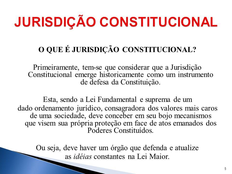 O QUE É JURISDIÇÃO CONSTITUCIONAL? Primeiramente, tem-se que considerar que a Jurisdição Constitucional emerge historicamente como um instrumento de d