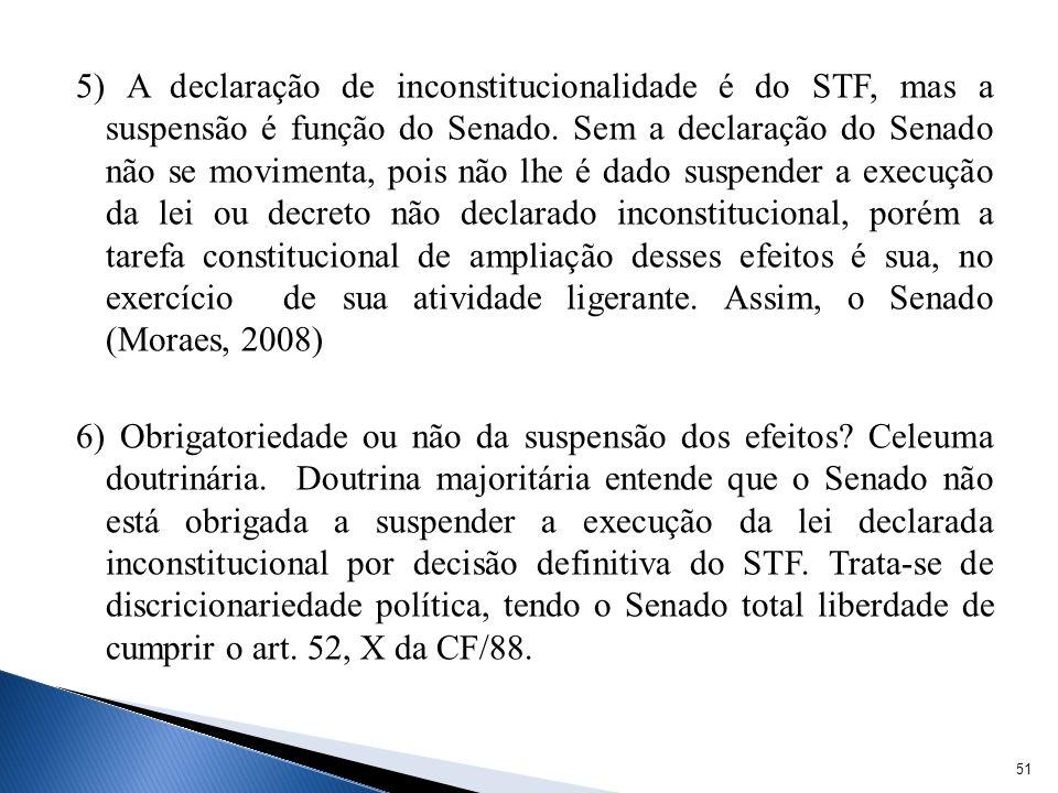 5) A declaração de inconstitucionalidade é do STF, mas a suspensão é função do Senado. Sem a declaração do Senado não se movimenta, pois não lhe é dad