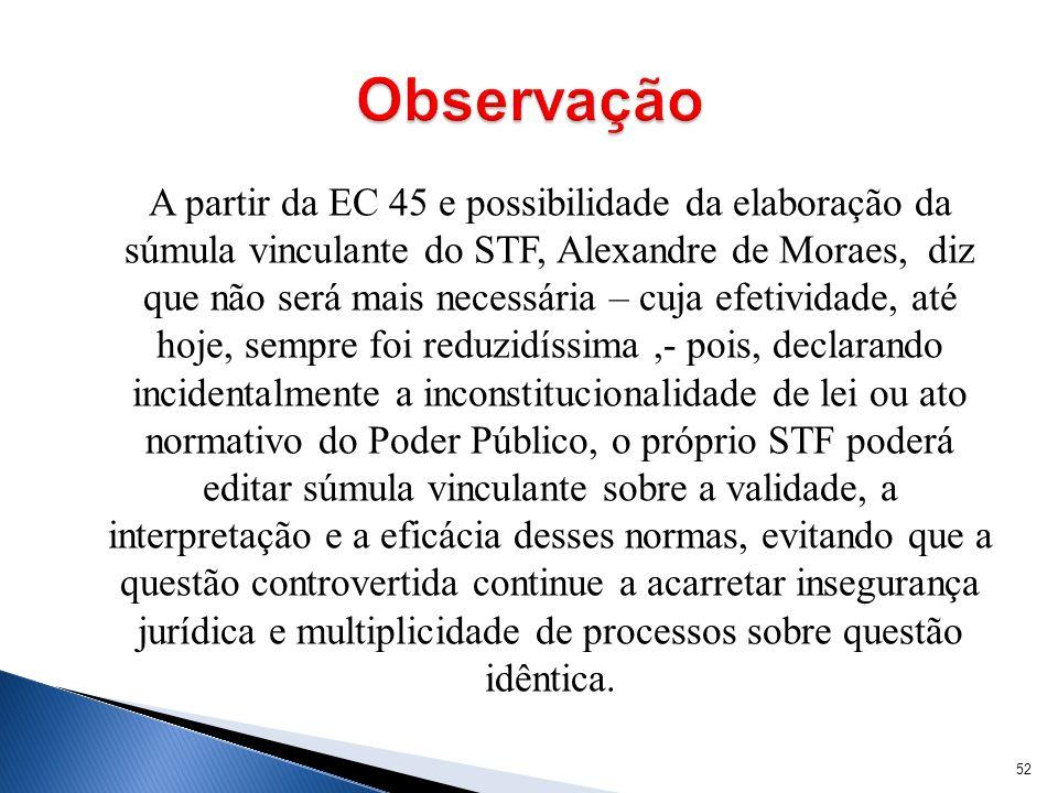 A partir da EC 45 e possibilidade da elaboração da súmula vinculante do STF, Alexandre de Moraes, diz que não será mais necessária – cuja efetividade,