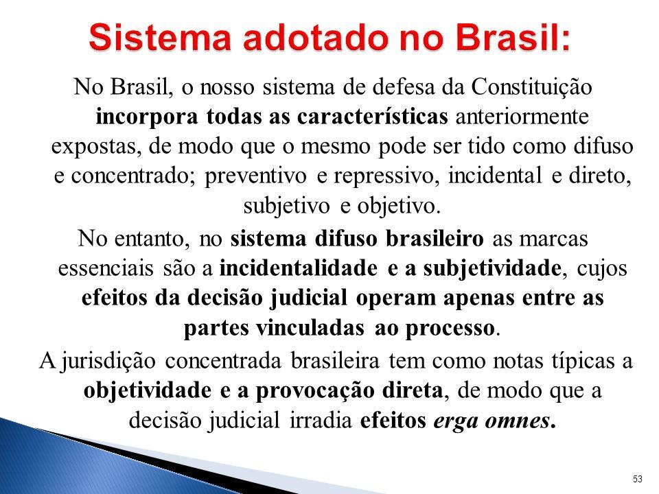 No Brasil, o nosso sistema de defesa da Constituição incorpora todas as características anteriormente expostas, de modo que o mesmo pode ser tido como