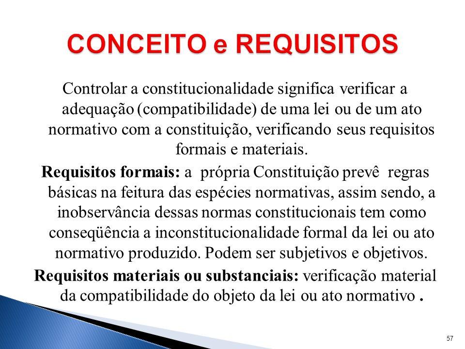 Controlar a constitucionalidade significa verificar a adequação (compatibilidade) de uma lei ou de um ato normativo com a constituição, verificando se
