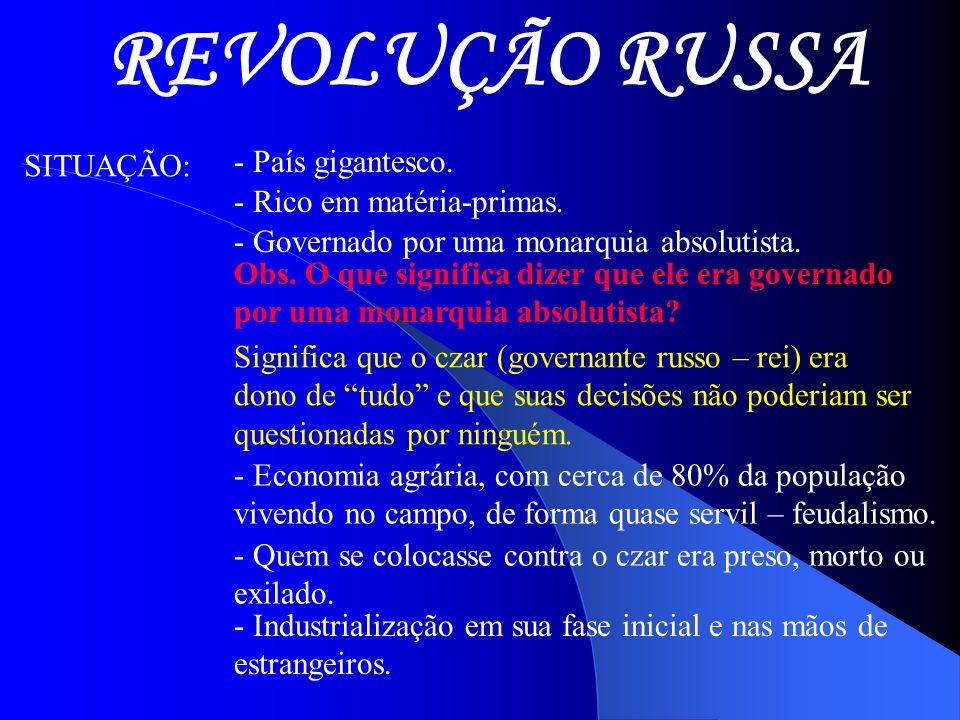 REVOLUÇÃO RUSSA SITUAÇÃO: - País gigantesco. - Rico em matéria-primas. - Governado por uma monarquia absolutista. Obs. O que significa dizer que ele e
