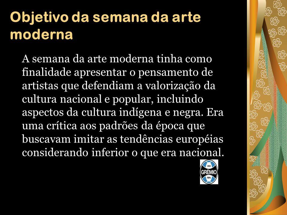 Participantes da semana da arte moderna Entres os que apresentaram trabalhos na semana de arte moderna estavam os escritores Mário de Andrade e Oswald de Andrade, os pintores de Anita Malffati e Di Cavalcante, além do músico Heitor Villa-Lobos