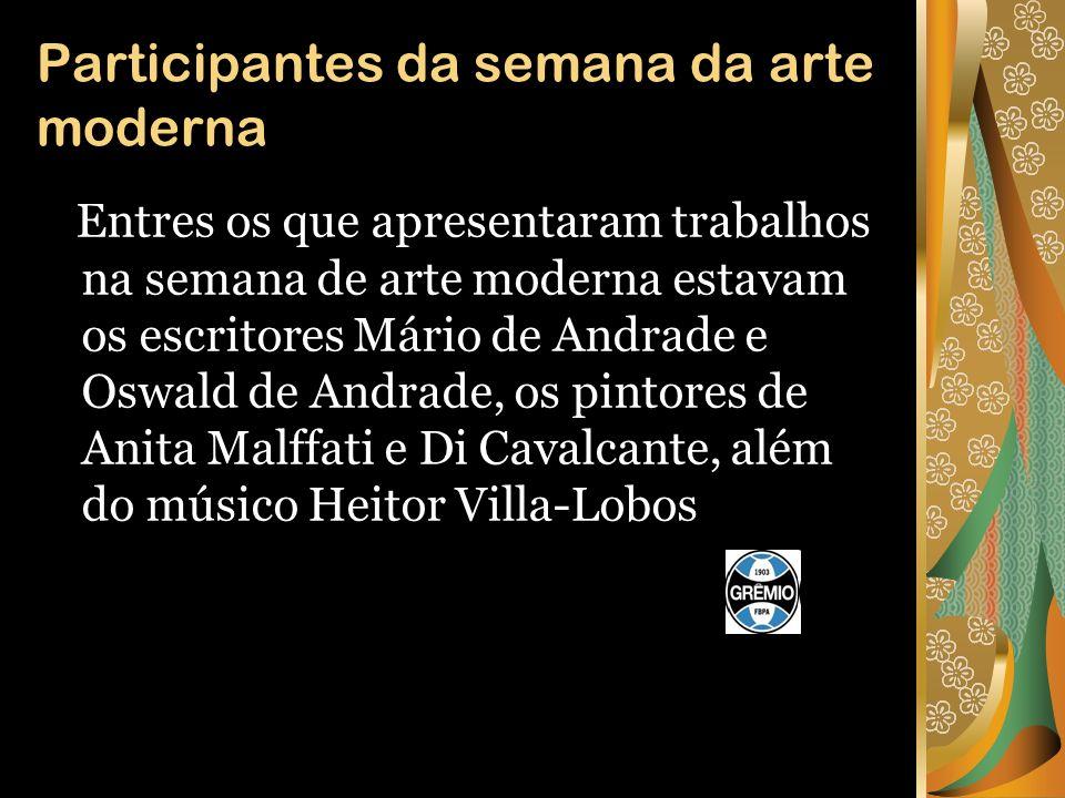 Semana da arte moderna Anita Malfatti Di Cavalcanti Tarsila do Amaral Mario de Andrade Oswald de Andrade Heitor Villa-Lobos