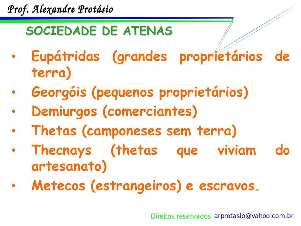 Eupátridas (grandes proprietários de terra) Georgóis (pequenos proprietários) Demiurgos (comerciantes) Thetas (camponeses sem terra) Thecnays (thetas que viviam do artesanato) Metecos (estrangeiros) e escravos.