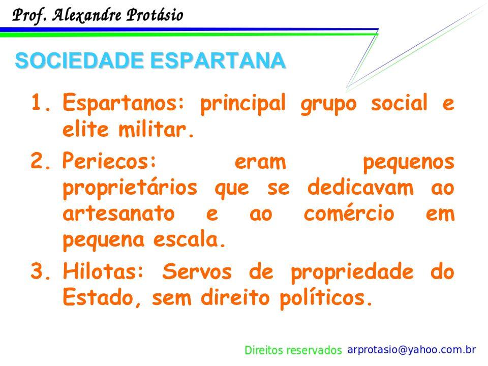 SOCIEDADE ESPARTANA 1.Espartanos: principal grupo social e elite militar.