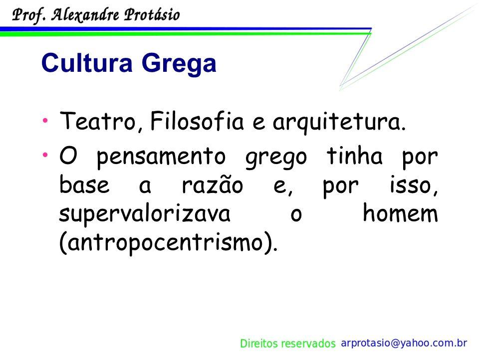 Cultura Grega Teatro, Filosofia e arquitetura.