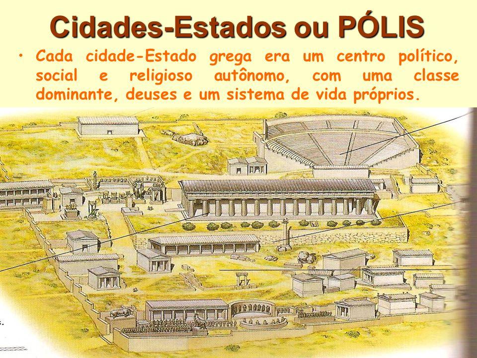 Cidades-Estados ou PÓLIS Cada cidade-Estado grega era um centro político, social e religioso autônomo, com uma classe dominante, deuses e um sistema d