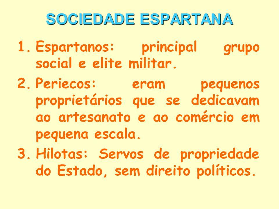 SOCIEDADE ESPARTANA 1.Espartanos: principal grupo social e elite militar. 2.Periecos: eram pequenos proprietários que se dedicavam ao artesanato e ao