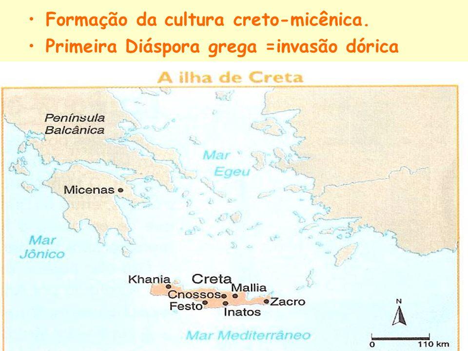 Formação da cultura creto-micênica. Primeira Diáspora grega =invasão dórica