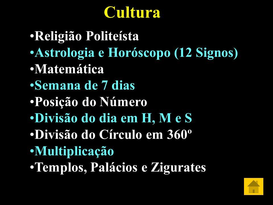 Cultura Religião Politeísta Astrologia e Horóscopo (12 Signos) Matemática Semana de 7 dias Posição do Número Divisão do dia em H, M e S Divisão do Cír