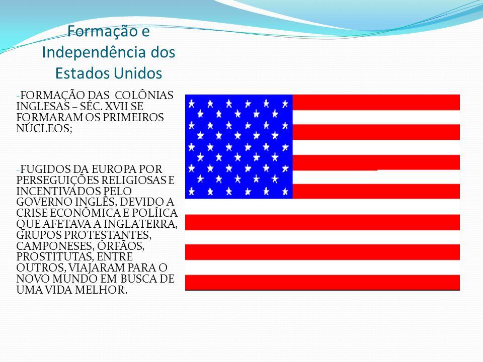 Formação e Independência dos Estados Unidos - FORMAÇÃO DAS COLÔNIAS INGLESAS – SÉC. XVII SE FORMARAM OS PRIMEIROS NÚCLEOS; - FUGIDOS DA EUROPA POR PER