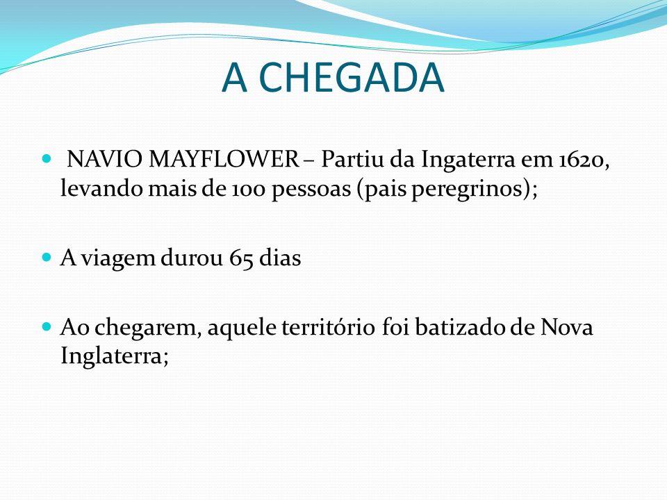 A CHEGADA NAVIO MAYFLOWER – Partiu da Ingaterra em 1620, levando mais de 100 pessoas (pais peregrinos); A viagem durou 65 dias Ao chegarem, aquele ter