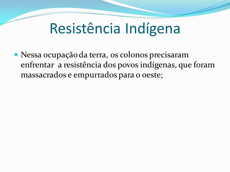 Resistência Indígena Nessa ocupação da terra, os colonos precisaram enfrentar a resistência dos povos indígenas, que foram massacrados e empurrados pa