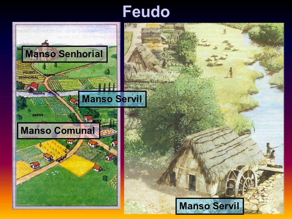 A Sociedade Feudal: componentes econômicos e sociais. OS SERVOS As terras do feudo distribuíam-se da seguinte forma: Manso senhorial – Representava ce