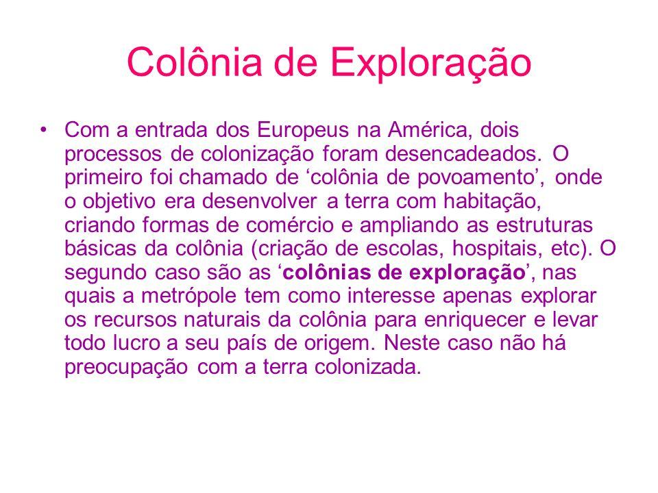 Colônia de Exploração Com a entrada dos Europeus na América, dois processos de colonização foram desencadeados. O primeiro foi chamado de colônia de p