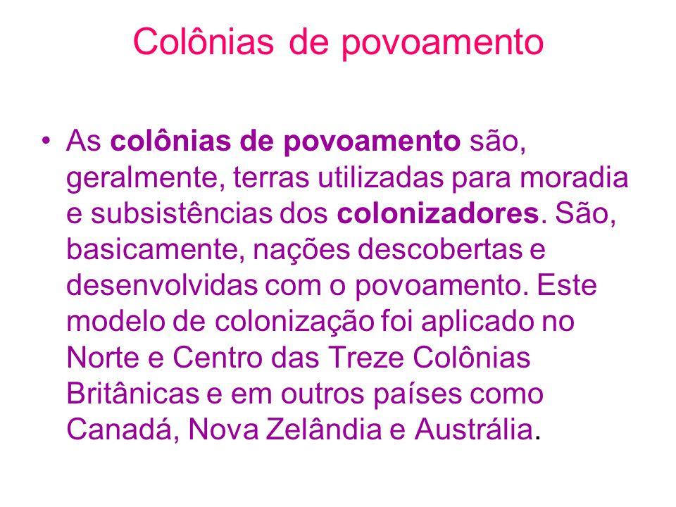 Colônias de povoamento As colônias de povoamento são, geralmente, terras utilizadas para moradia e subsistências dos colonizadores. São, basicamente,