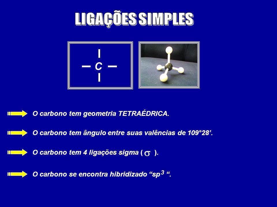 C O carbono tem geometria TETRAÉDRICA. O carbono tem ângulo entre suas valências de 109°28. O carbono tem 4 ligações sigma ( ). O carbono se encontra