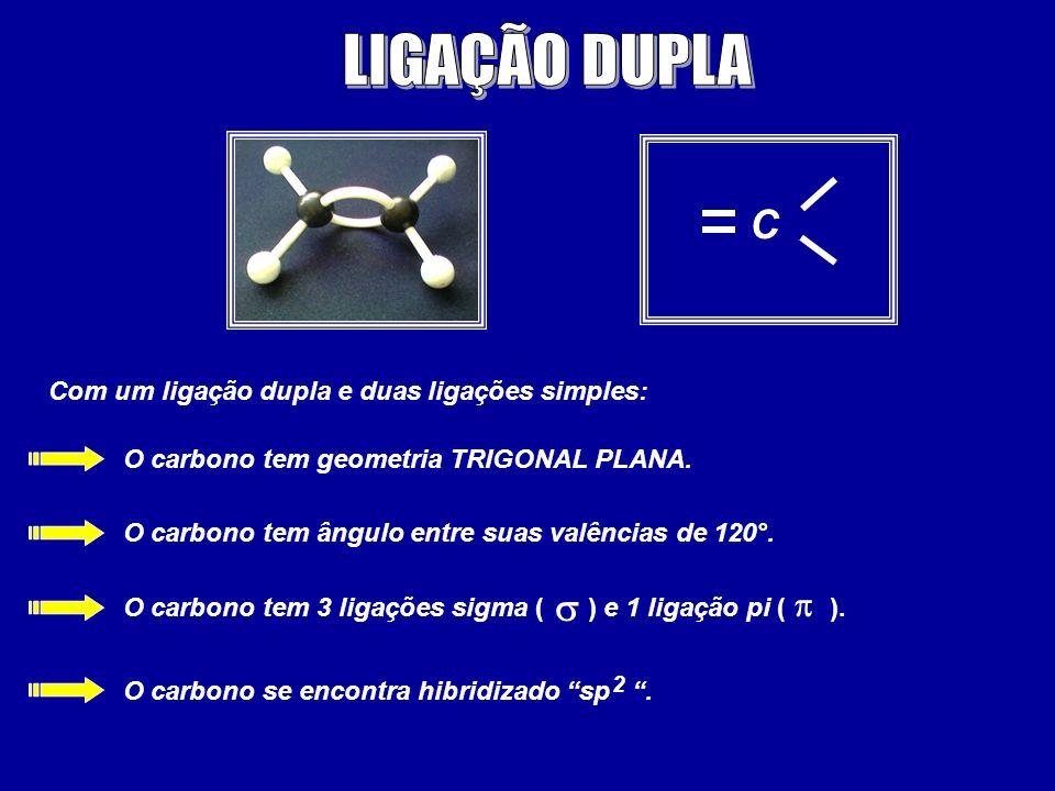 C Com um ligação dupla e duas ligações simples: O carbono tem geometria TRIGONAL PLANA. O carbono tem ângulo entre suas valências de 120°. O carbono t