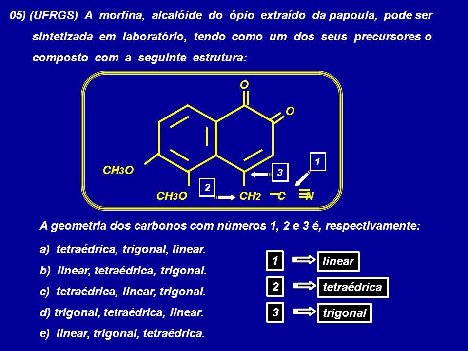 05) (UFRGS) A morfina, alcalóide do ópio extraído da papoula, pode ser sintetizada em laboratório, tendo como um dos seus precursores o composto com a