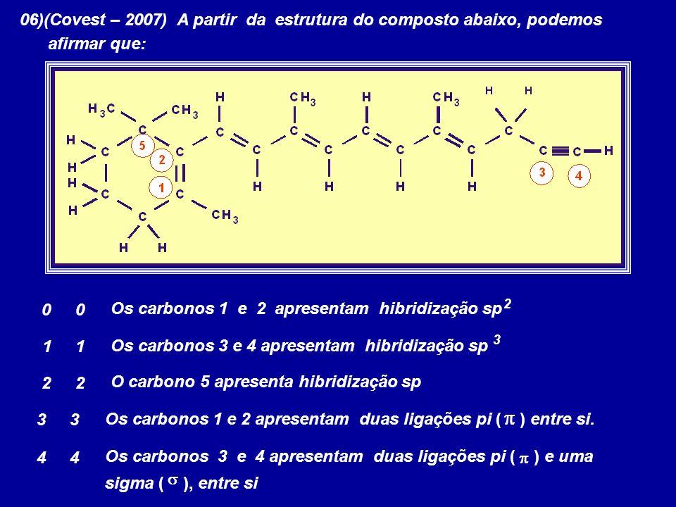 06)(Covest – 2007) A partir da estrutura do composto abaixo, podemos afirmar que: Os carbonos 1 e 2 apresentam hibridização sp 0 0 1 1 Os carbonos 3 e