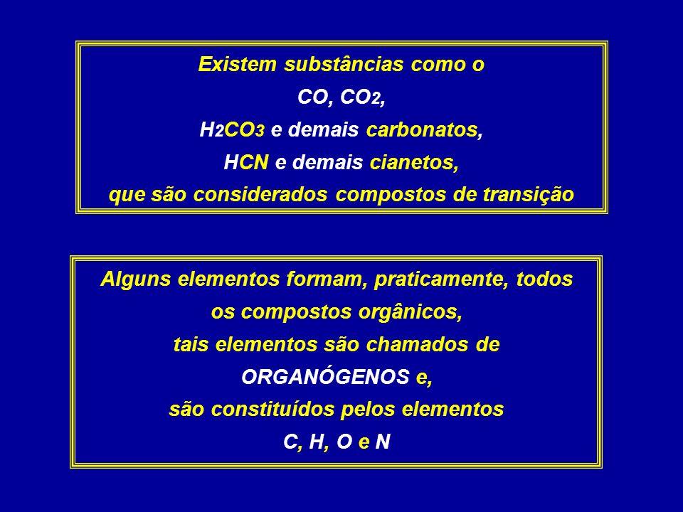 Existem substâncias como o CO, CO 2, H 2 CO 3 e demais carbonatos, HCN e demais cianetos, que são considerados compostos de transição Alguns elementos