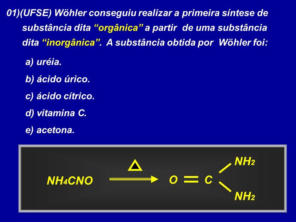 01)(UFSE) Wöhler conseguiu realizar a primeira síntese de substância dita orgânica a partir de uma substância dita inorgânica. A substância obtida por