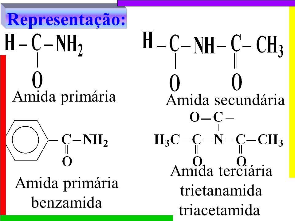 Amida secundária Amida primária benzamida Amida terciária trietanamida triacetamida