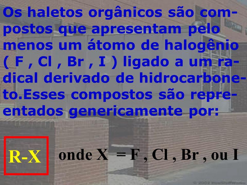Os haletos orgânicos são com- postos que apresentam pelo menos um átomo de halogênio ( F, Cl, Br, I ) ligado a um ra- dical derivado de hidrocarbone-