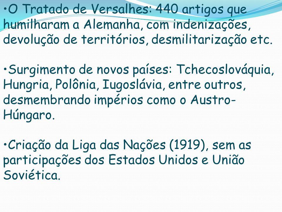 O Tratado de Versalhes: 440 artigos que humilharam a Alemanha, com indenizações, devolução de territórios, desmilitarização etc. Surgimento de novos p