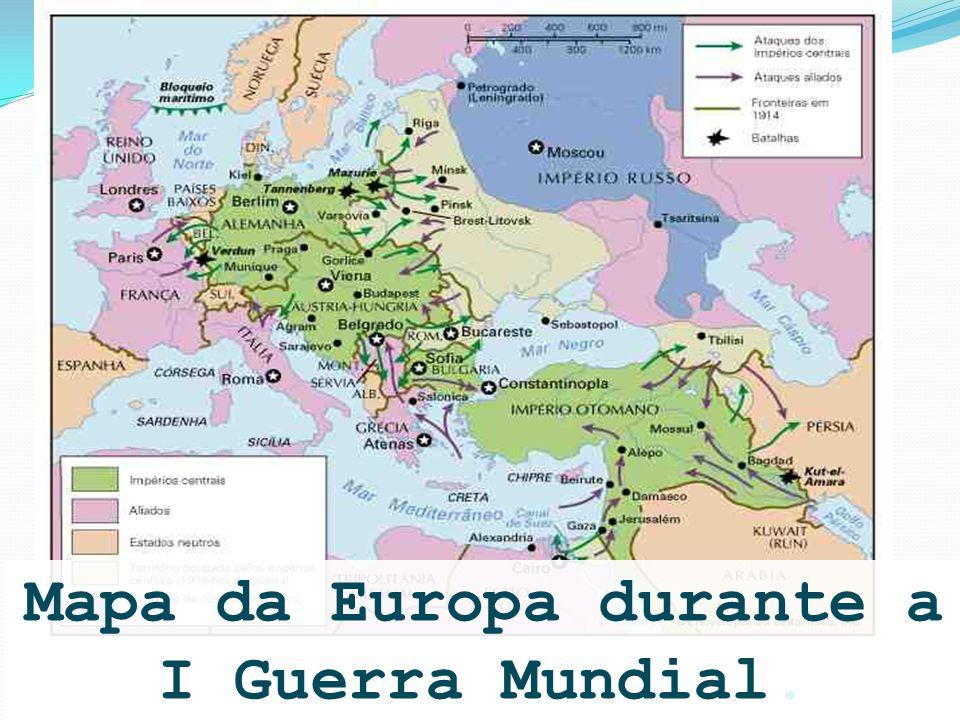 Mapa da Europa durante a I Guerra Mundial.