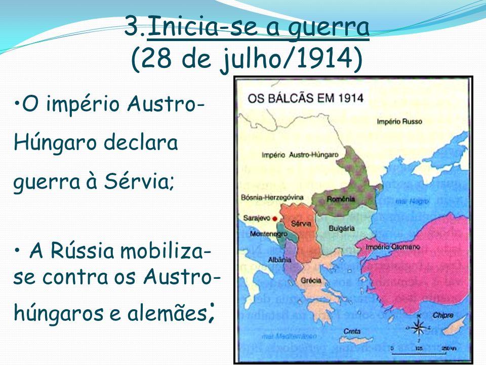 3.Inicia-se a guerra (28 de julho/1914) O império Austro- Húngaro declara guerra à Sérvia; A Rússia mobiliza- se contra os Austro- húngaros e alemães