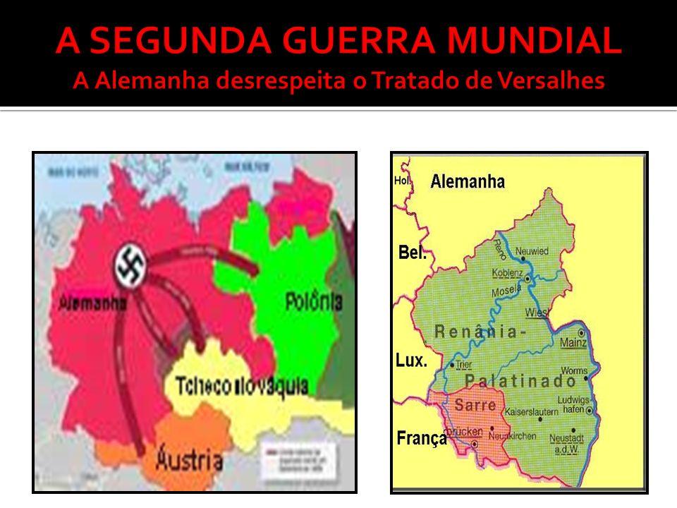 Tropas alemães remilitarizam a Renânia Alemanha e Itália interferem na Guerra Civil Espanhola Pacto Ítalo- germânico ( 1936 ) entre Alemanha e Itália Assinatura do Pacto Anti-Komitern - 1936 - (Alemanha, Itália e Japão) – compromisso de combater o comunismo internacional 1938 – Áustria anexada ao terceiro Reich Imperialismo Alemão na Tchecoslováquia Hitler reivindica o corredor polonês