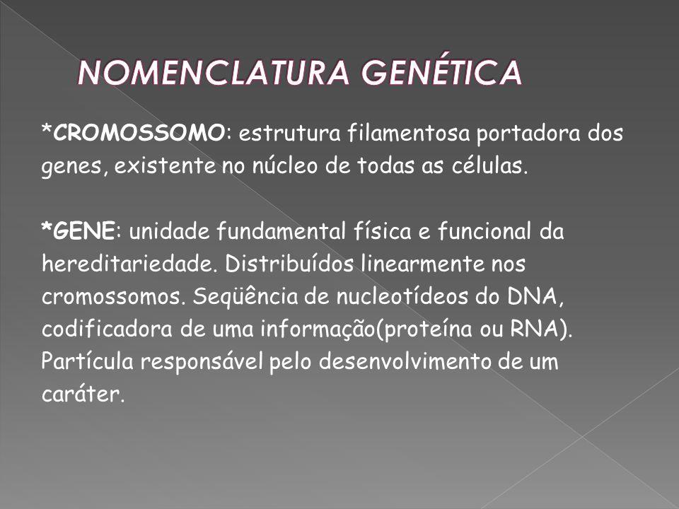 *CROMOSSOMO: estrutura filamentosa portadora dos genes, existente no núcleo de todas as células. *GENE: unidade fundamental física e funcional da here