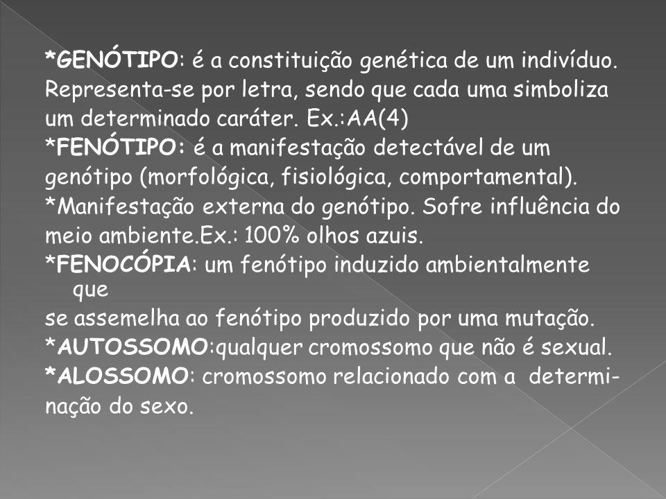 *GENÓTIPO: é a constituição genética de um indivíduo. Representa-se por letra, sendo que cada uma simboliza um determinado caráter. Ex.:AA(4) *FENÓTIP