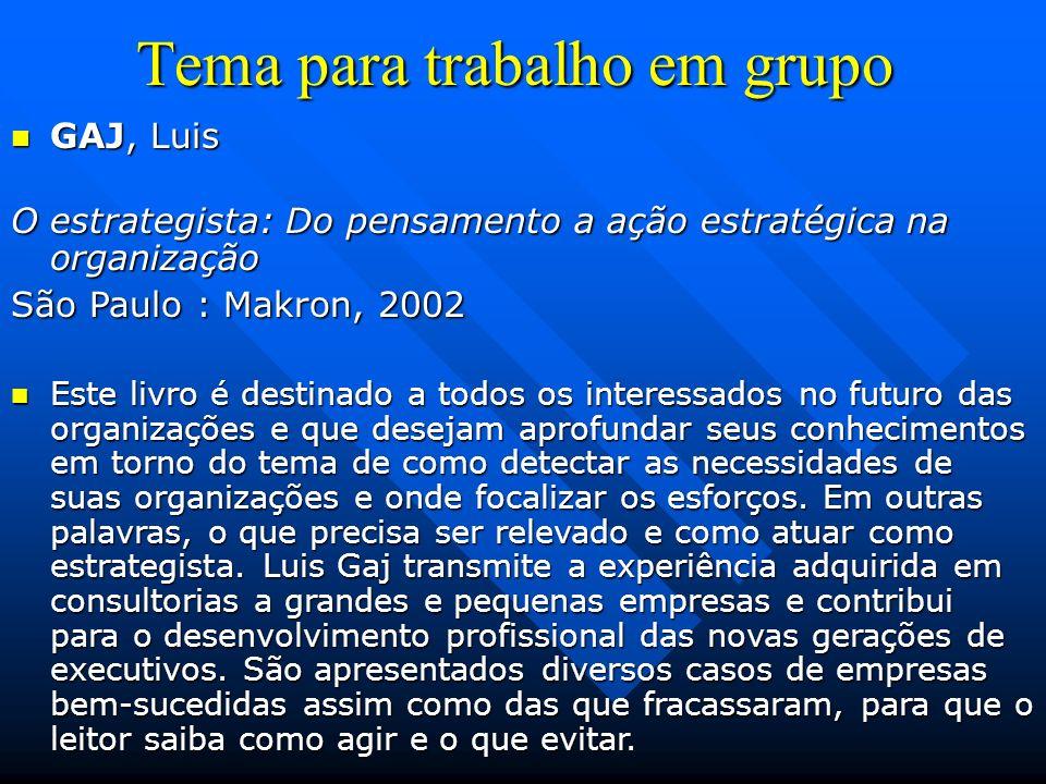 Tema para trabalho em grupo GAJ, Luis GAJ, Luis O estrategista: Do pensamento a ação estratégica na organização São Paulo : Makron, 2002 Este livro é