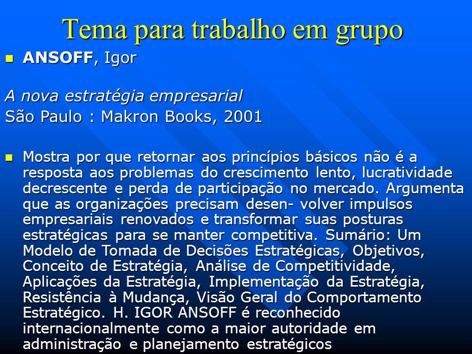 Tema para trabalho em grupo ANSOFF, Igor ANSOFF, Igor A nova estratégia empresarial São Paulo : Makron Books, 2001 Mostra por que retornar aos princíp