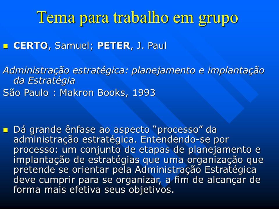Tema para trabalho em grupo CERTO, Samuel; PETER, J. Paul CERTO, Samuel; PETER, J. Paul Administração estratégica: planejamento e implantação da Estra