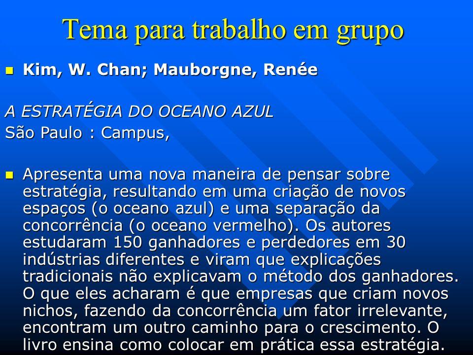 Tema para trabalho em grupo Kim, W. Chan; Mauborgne, Renée Kim, W. Chan; Mauborgne, Renée A ESTRATÉGIA DO OCEANO AZUL São Paulo : Campus, Apresenta um