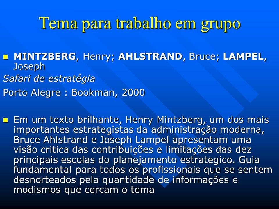 Tema para trabalho em grupo PORTER, Michael PORTER, Michael Estratégia Competitiva Rio de Janeiro : Campus, 1991 Este livro é considerado um clássico sobre estratégia competitiva e leitura obrigatória em grandes escolas de administração.