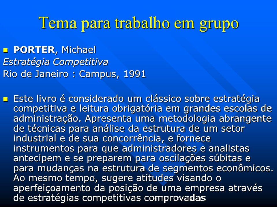 Tema para trabalho em grupo PORTER, Michael PORTER, Michael Vantagem Competitiva Rio de Janeiro : Campus, 1990 Outro clássico sobre estratégia competitiva e leitura obrigatória em grandes escolas de administração.