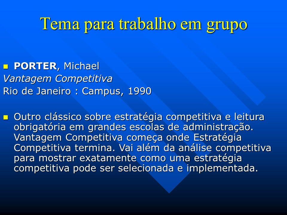Tema para trabalho em grupo PORTER, Michael PORTER, Michael Vantagem Competitiva Rio de Janeiro : Campus, 1990 Outro clássico sobre estratégia competi
