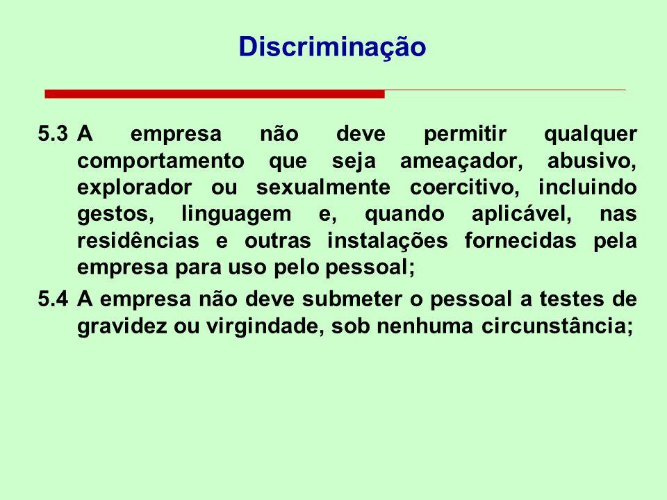 5.1Não deve se envolver ou apoiar a discriminação na contratação, remuneração, acesso a treinamento, promoção, encerramento de contrato ou aposentador