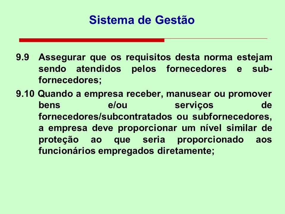 Fornecedores/Subcontratados e Sub-fornecedores 9.7Manter registros do comprometimento com a responsabilidade social de fornecedores/ subcontratados/su